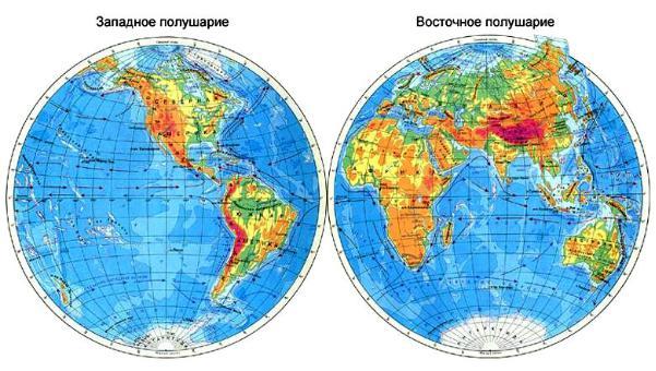 картинки материков и океанов на полушариях того