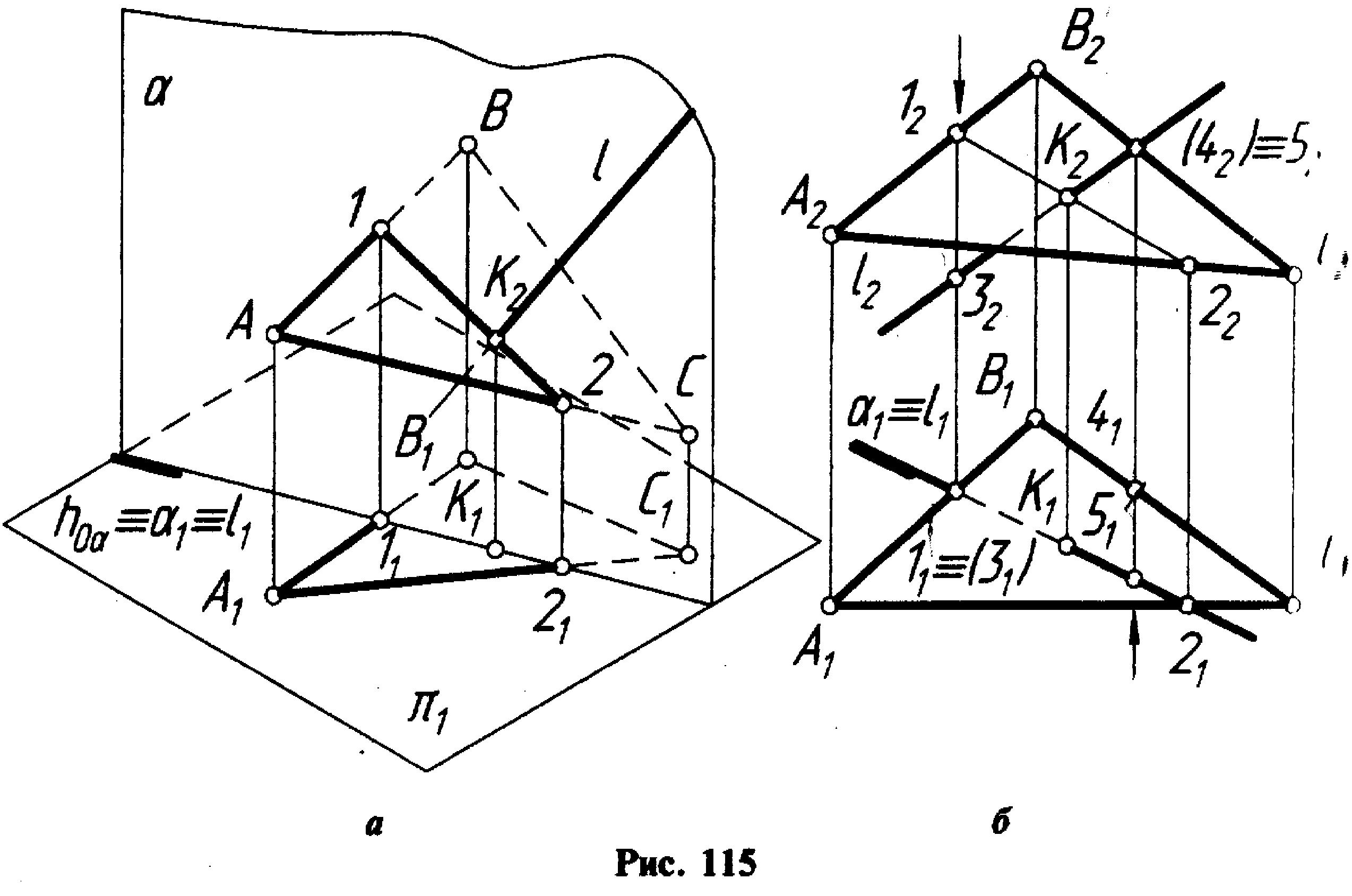 треугольника пересечения прямой с плоскостью