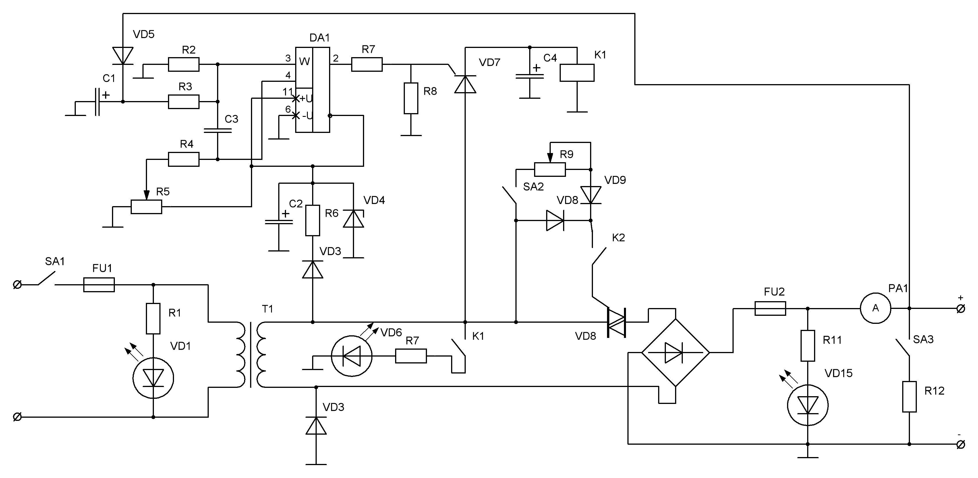 Схема автоматического зарядного устройства для автомобильного аккумулятора фото 703