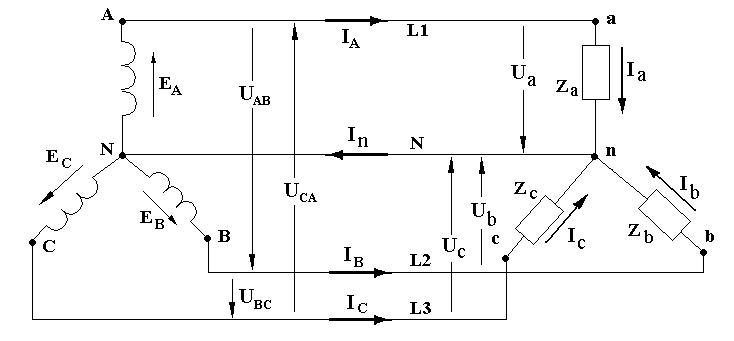 Трехфазные цепи схема соединения звезда фото 167