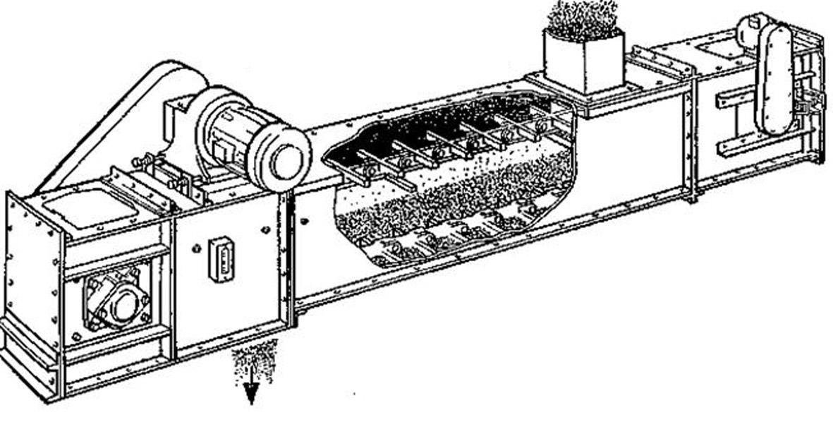основные узлы скребкового конвейера