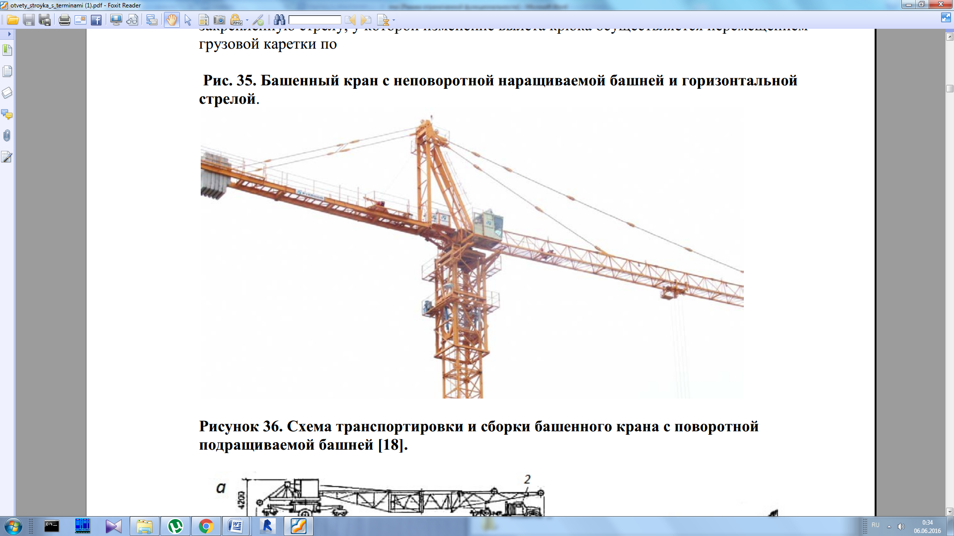 Схема наращивания башенного крана