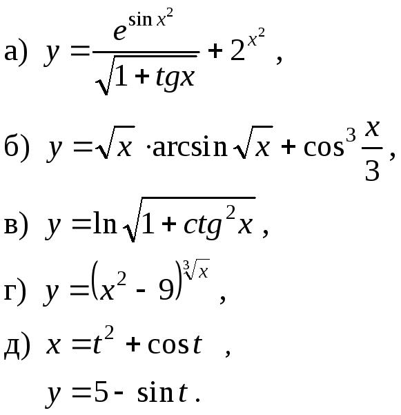 Контрольная работа № Производная функции и её приложения 121 122