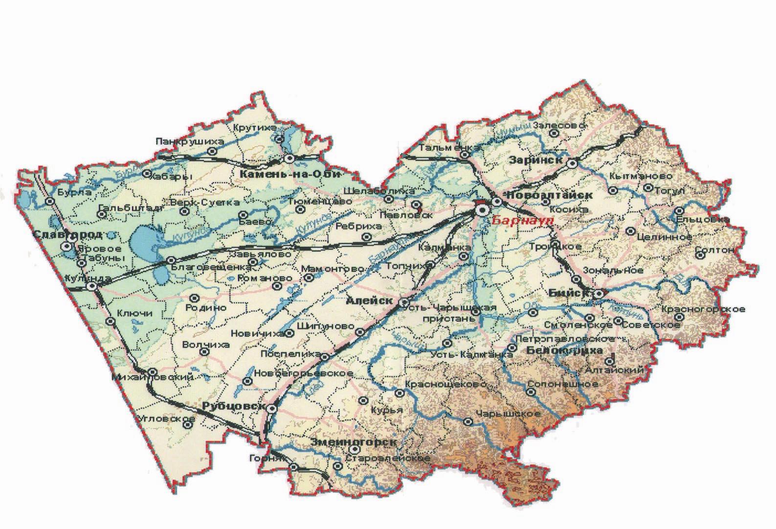 Карта алтайского края в картинках