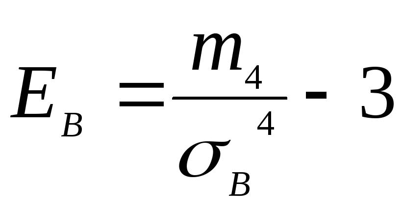 Емпірична функція розподілу Означення Ексцесом ЕВ статистичного розподілу вибірки називається число яке обчислюється за формулою