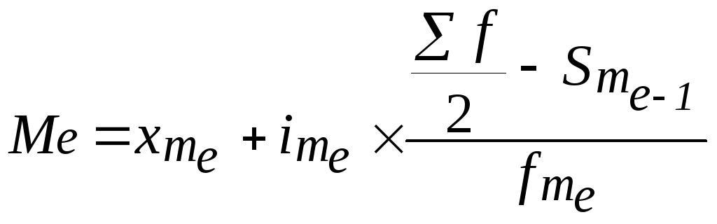 Тема Аналіз рядів розподілу У інтервальному ряді розподілу аналогічно визначається медіанний інтервал а сама медіана обчислюється за формулою