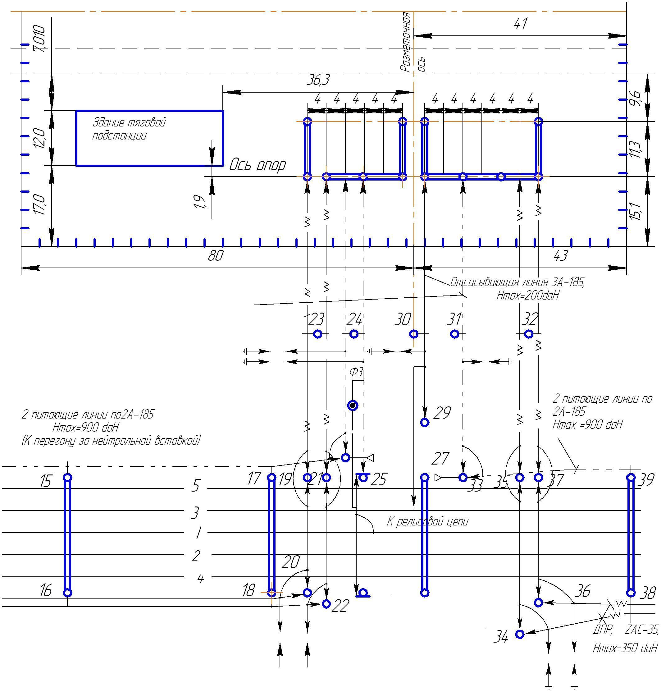 Схема тяговой подстанции переменного тока