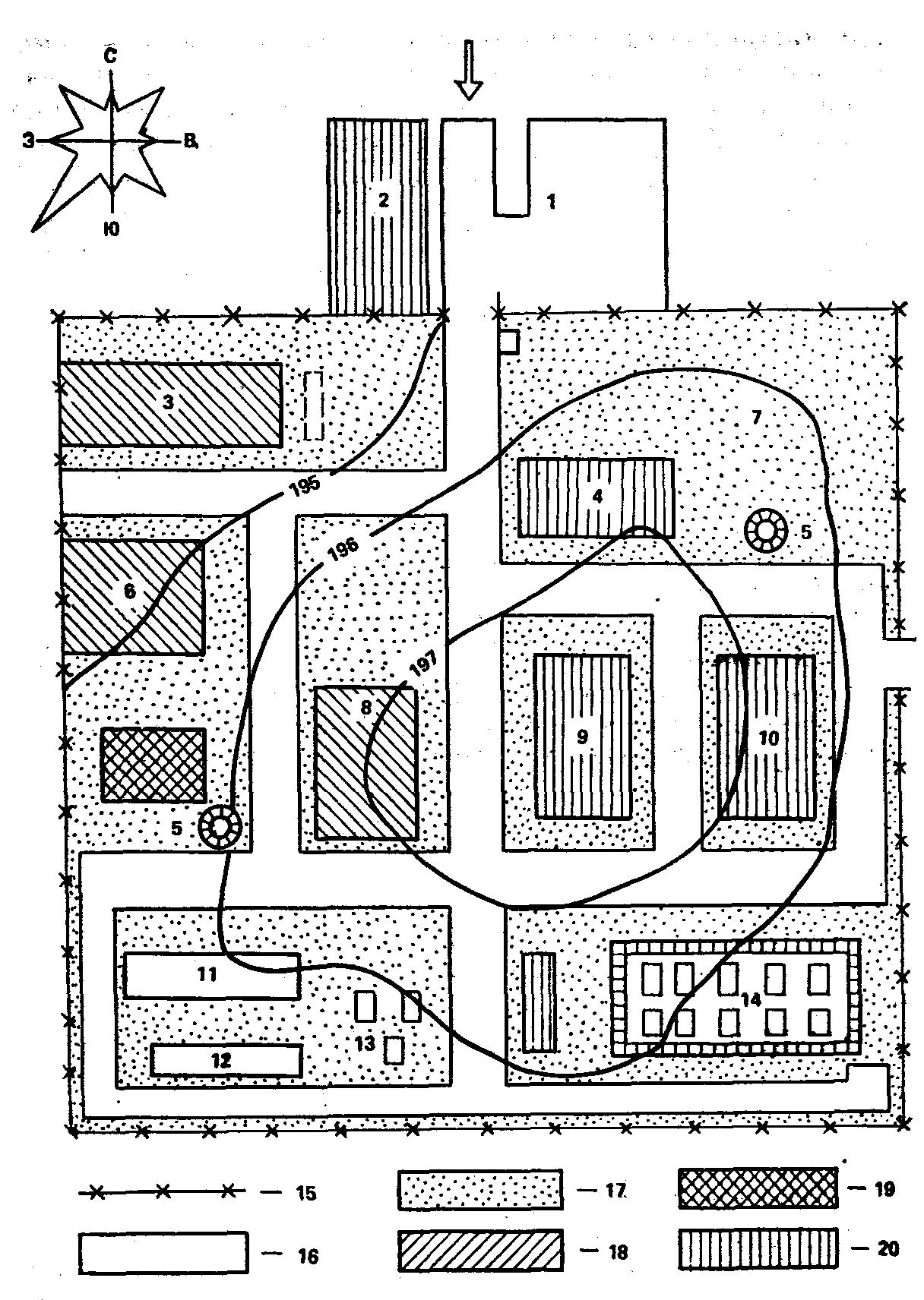схема с расстояниями санитарных зон