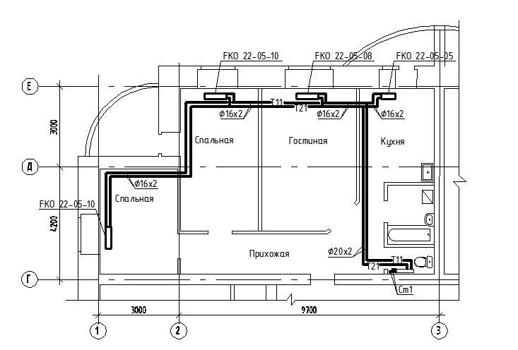 Методические указания к выполнению курсовой работы Периметральная схема приведённая на рисунке 1 реализуется прокладкой труб вдоль стен в конструкции пола или в специальных плинтусах коробах