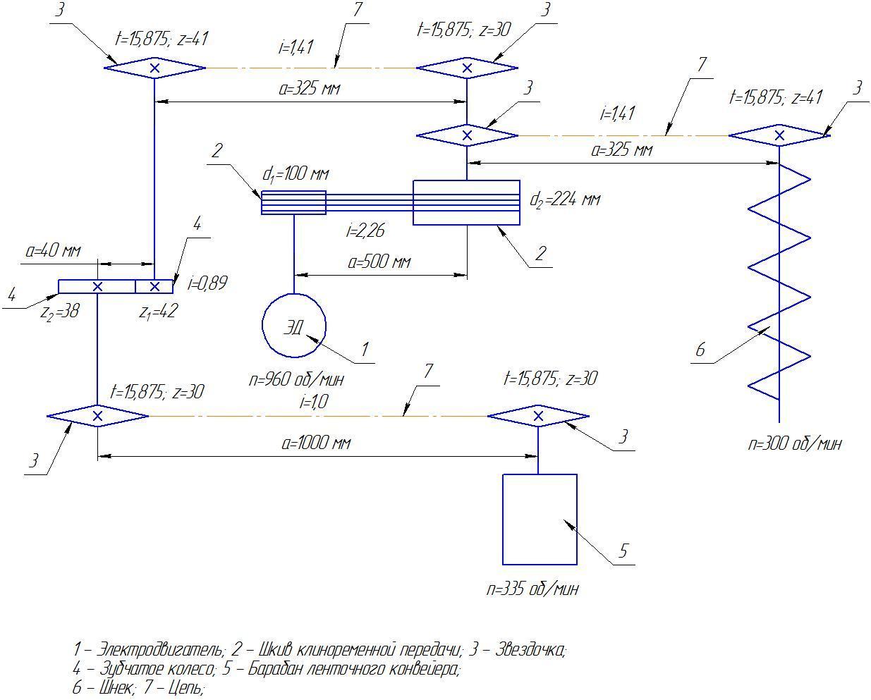 Схема подключения привода конвейеров
