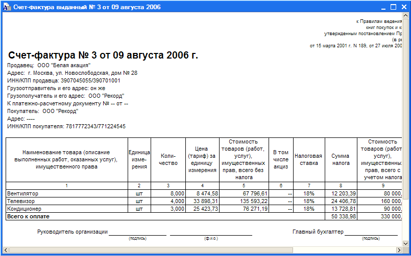 Продажа товаров: накладная и счет-фактура