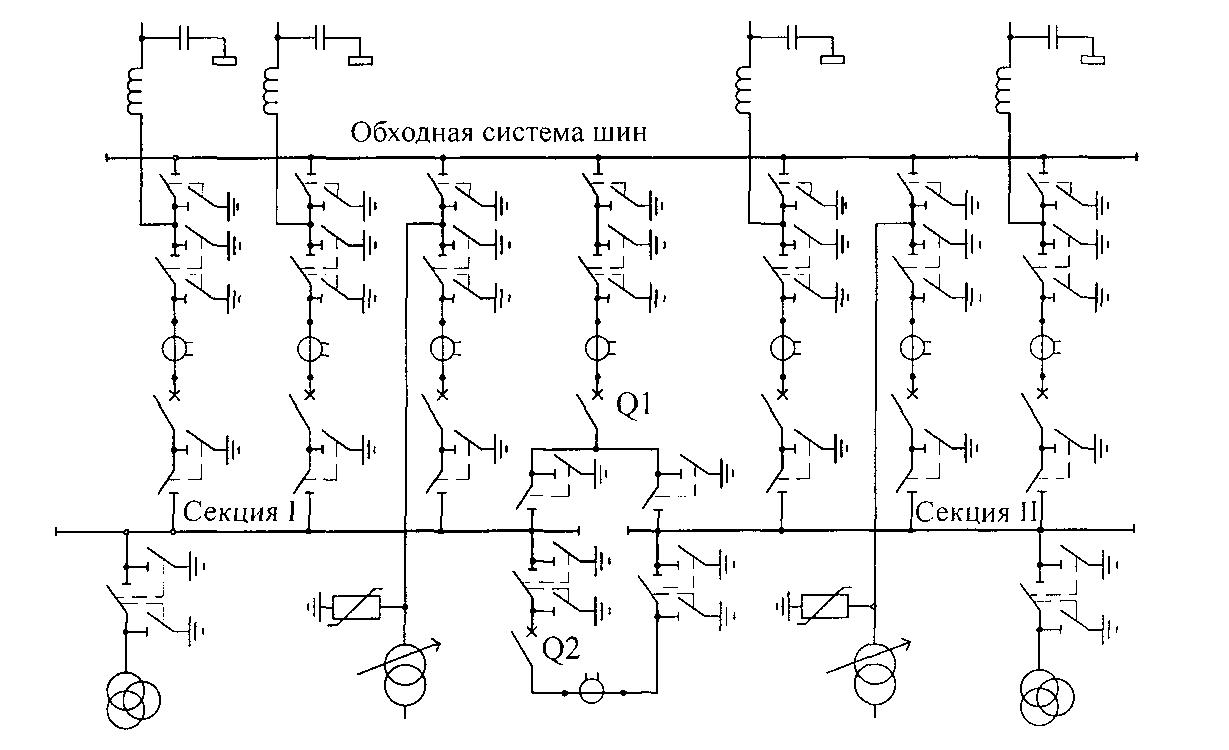 Схема одна системой шин с секционированным выключателем