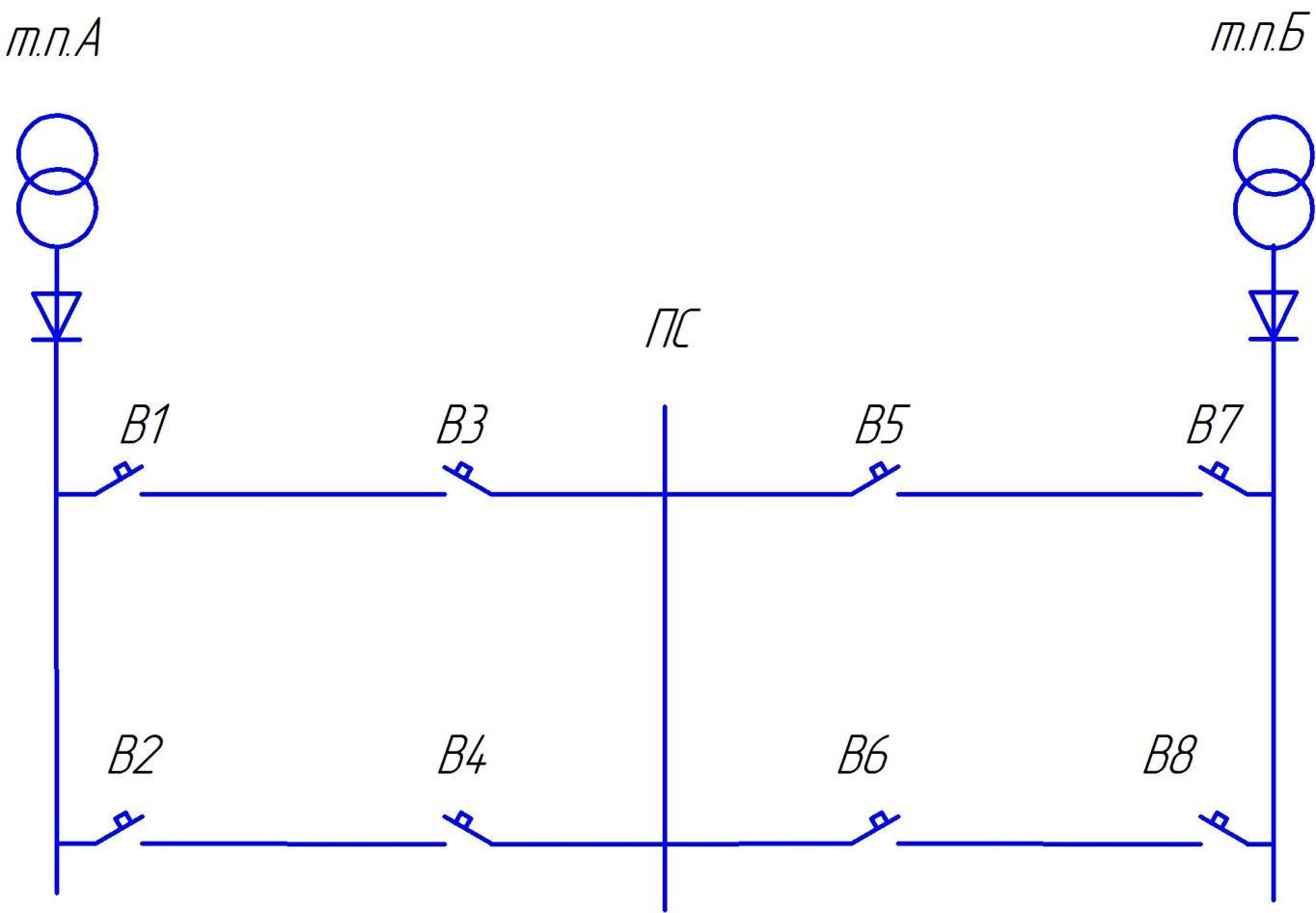 Реферат Схема питания расчетного участка тяговой сети постоянного тока