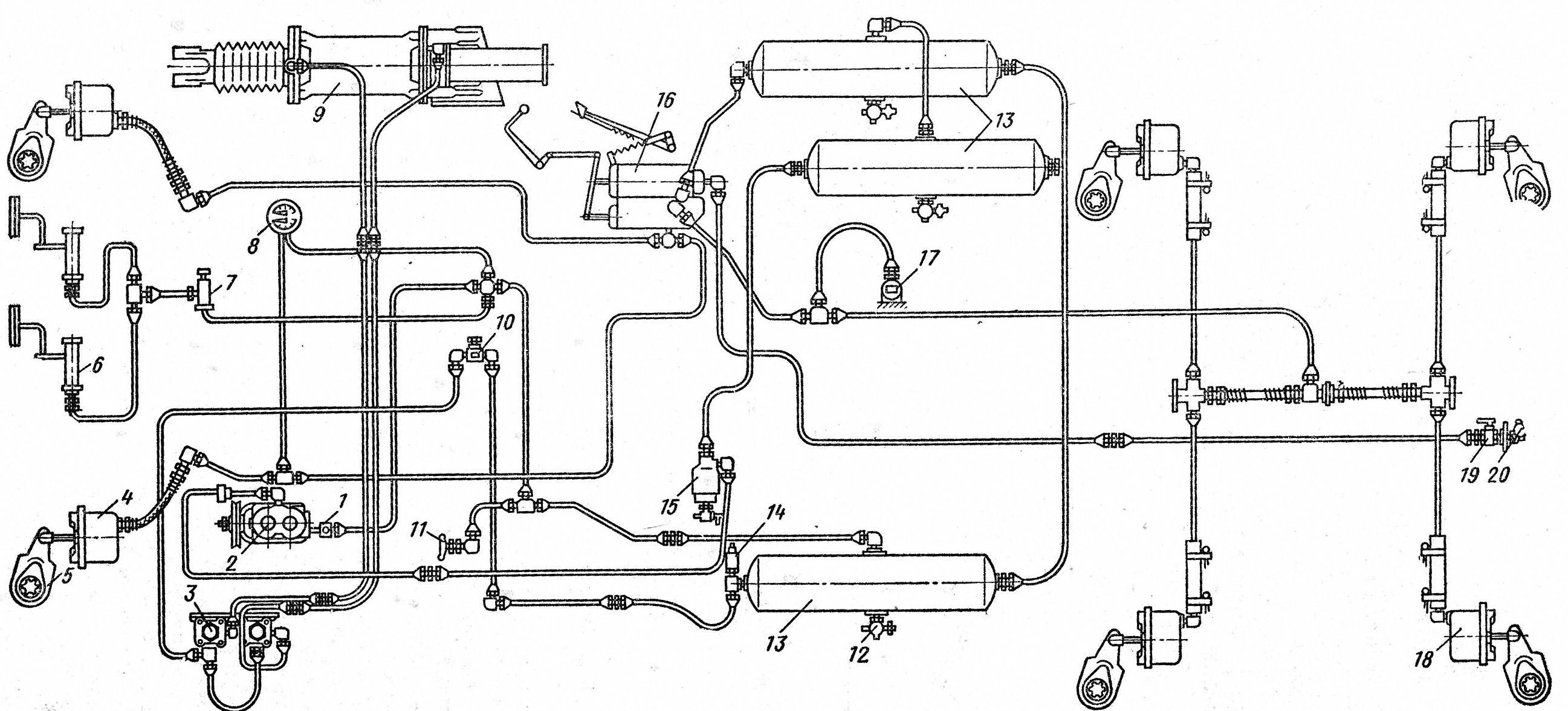 Схема пневматического привода тормозной системы фото 211