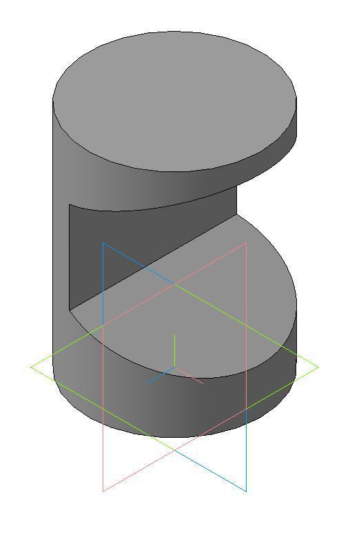 Цилиндр с вырезом в трех проекциях