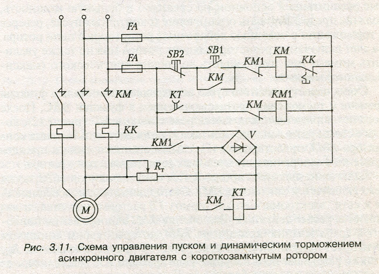схема нереверсивного пуска асинхронного двигателя