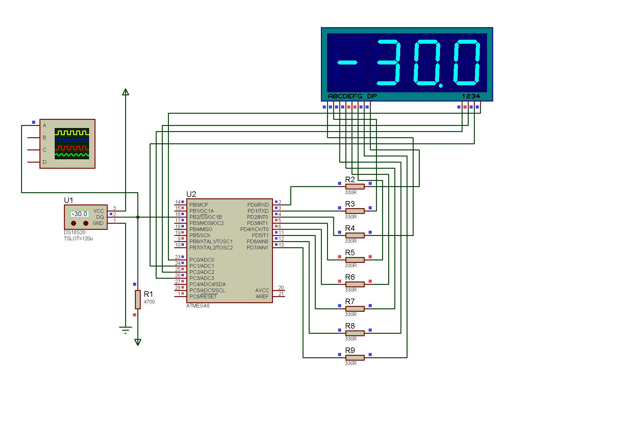 Цифровой термометр на одной микросхеме схема