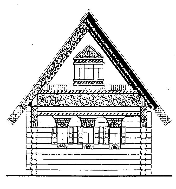 рисунок деревенский домик с узорами него есть