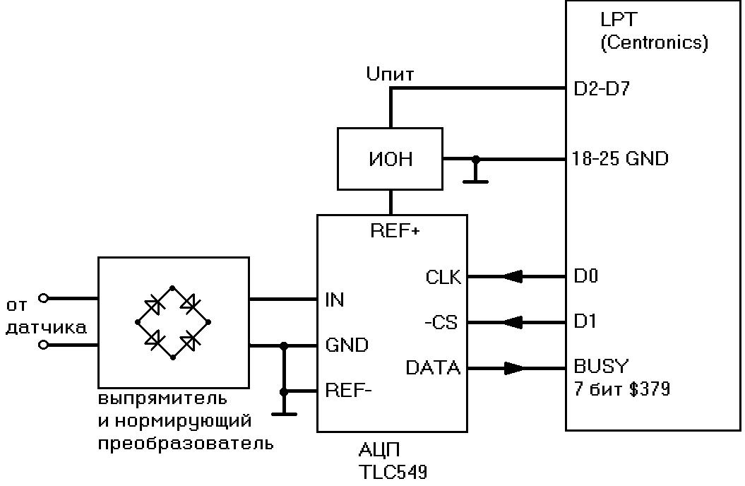 Схема включения индуктивного преобразователя