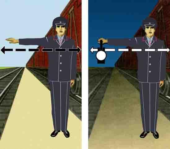Ручные сигналы помошника и звуковые сигнала машиниста 37
