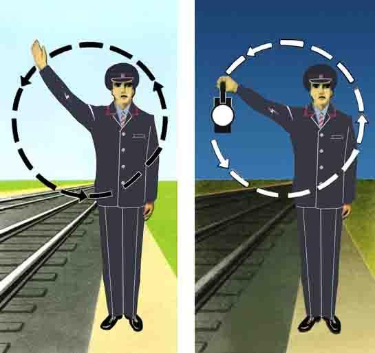 Ручные сигналы помошника и звуковые сигнала машиниста 9