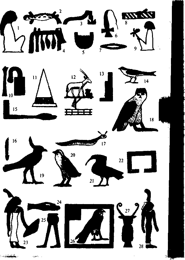 Рисунки египетских иероглифов