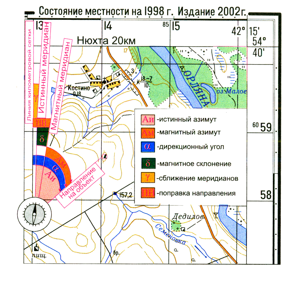 как измерить азимут и масштаб по топографической карте МИНИСТЕРСТВО