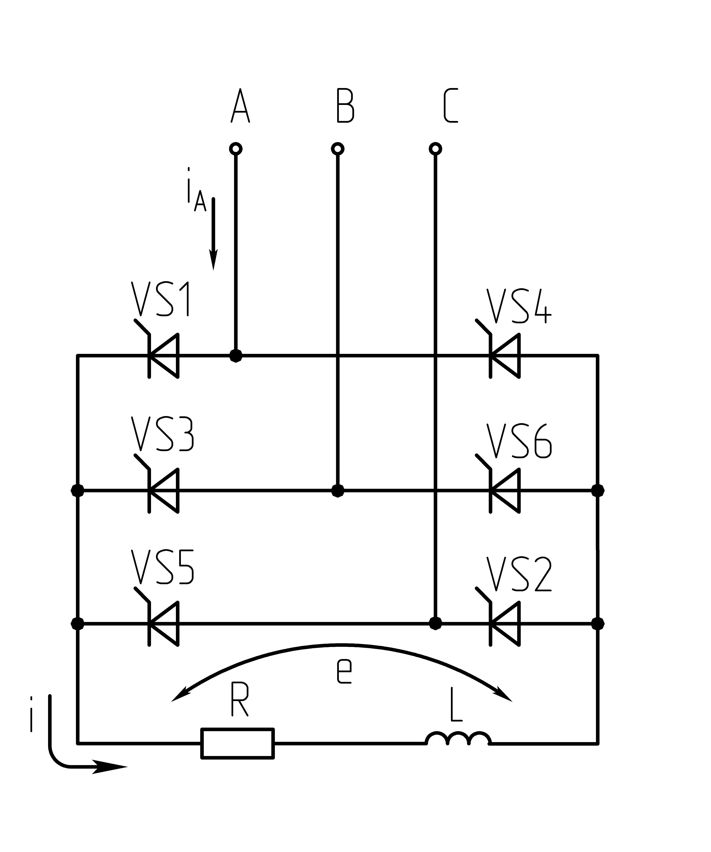 Схема трёхфазного тиристорного выпрямителя фото 521