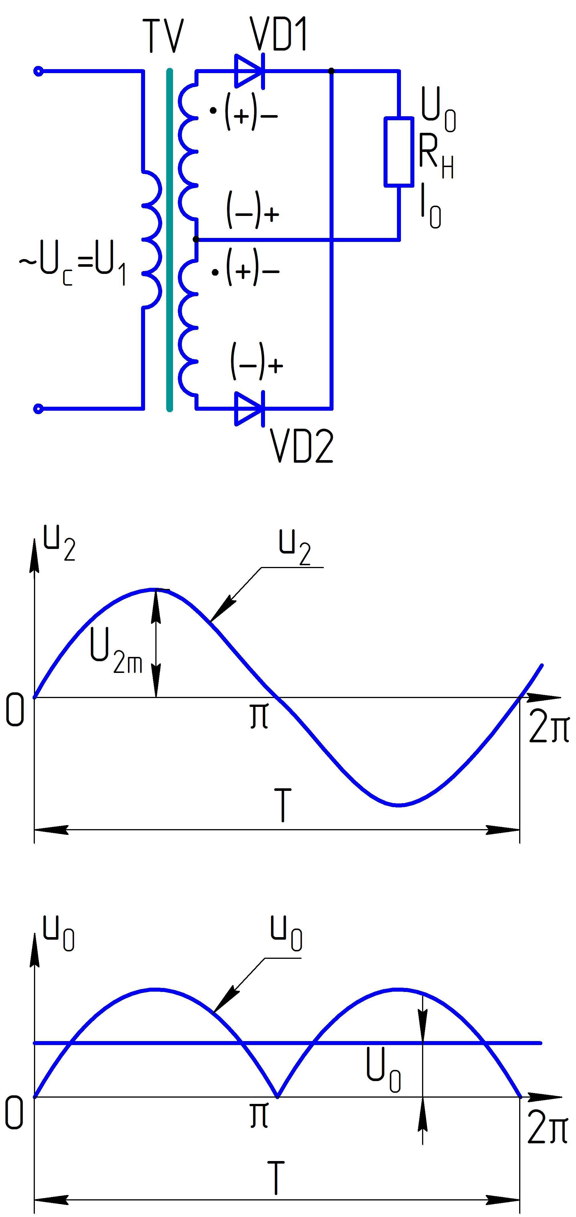 Двухполупериодная мостовая схема выпрямления расчет фото 86