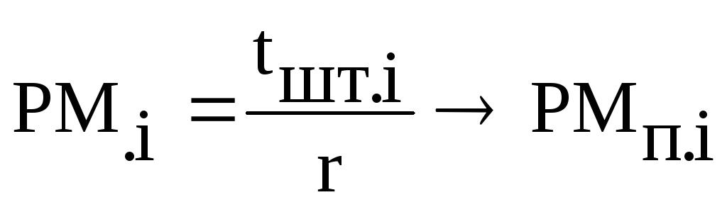 Наименование разделов курсовой работы краткое их содержание и  На основе ритма определяется потребное количество рабочих мест для каждой операции линии Ср i по формуле