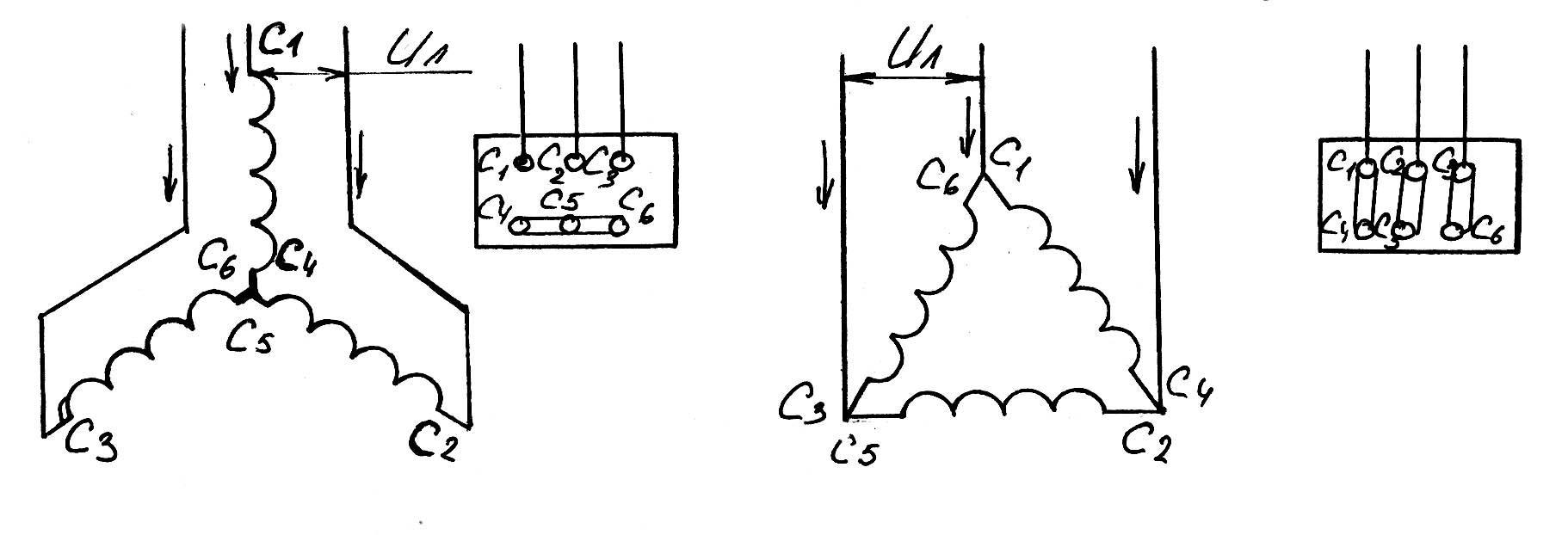 схема подсоединения эл.двигателя на 380в к сети на 220в