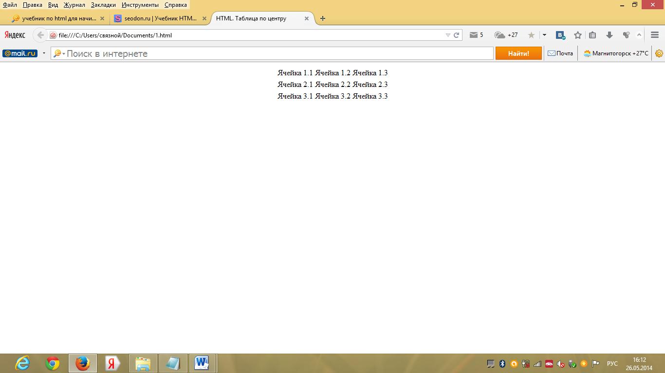 Как сделать таблицу по центру страницу html