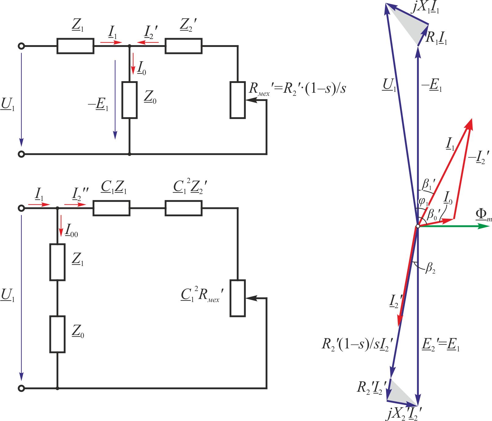 Т и г образные схемы замещения асинхронного двигателя