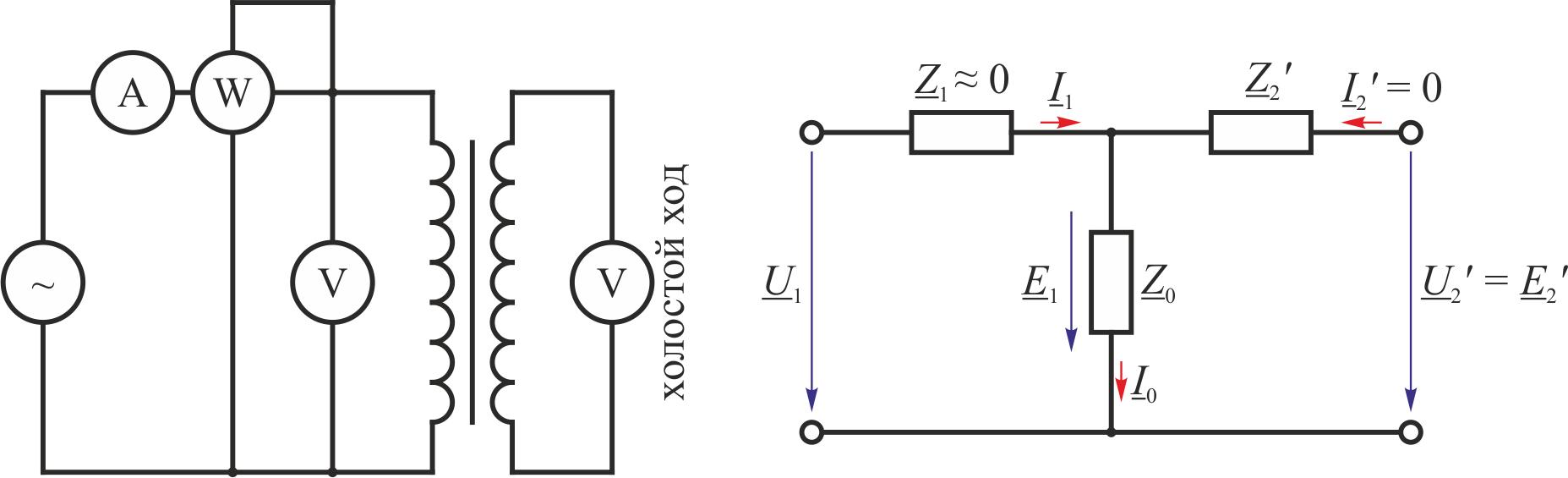 вторичная обработка и схема замещения трансформатора