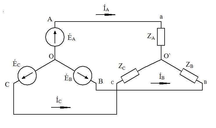 Схема треугольник звезда с нулем