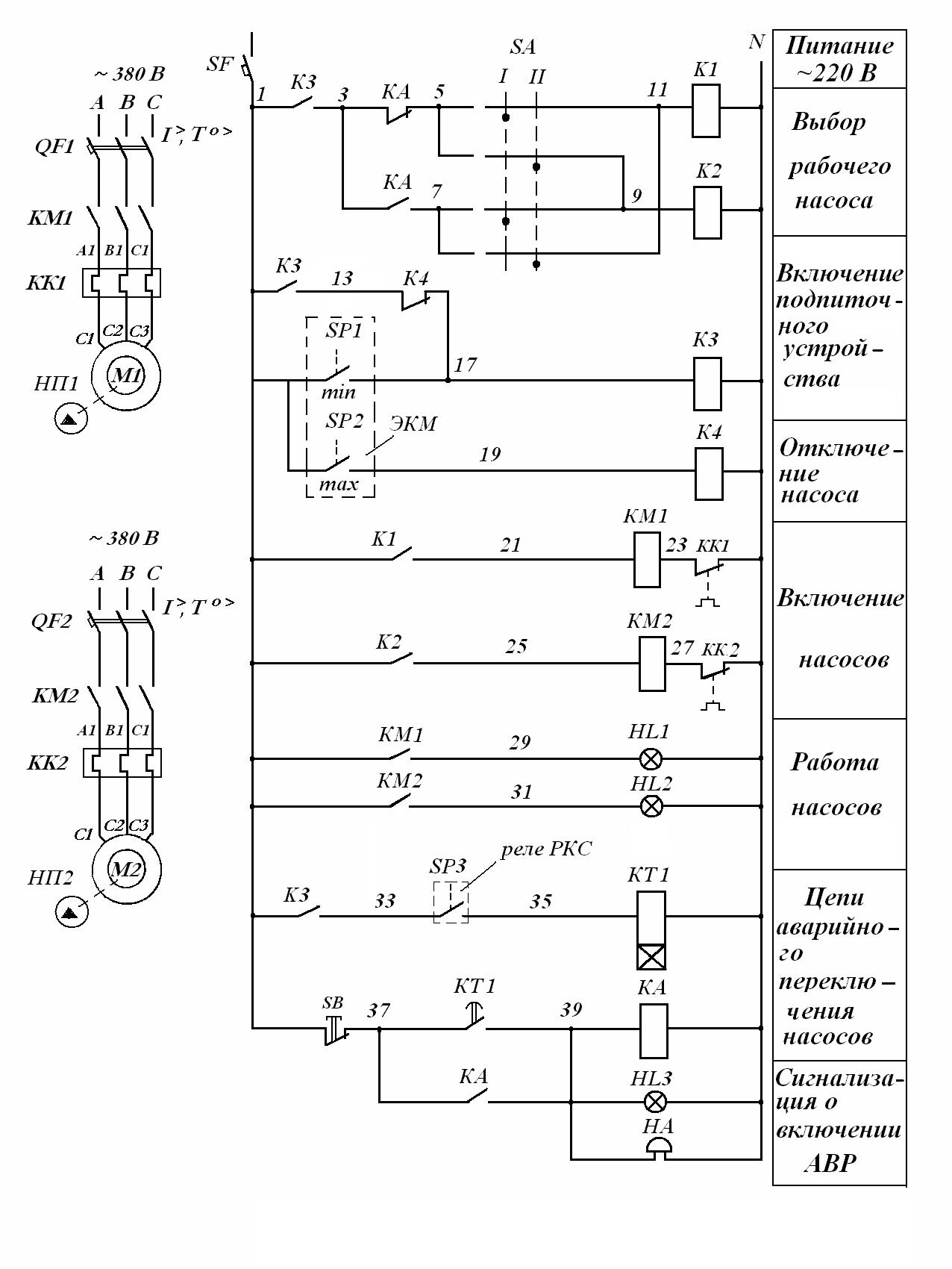 Принципиальная электрическая схема насоса фото 462