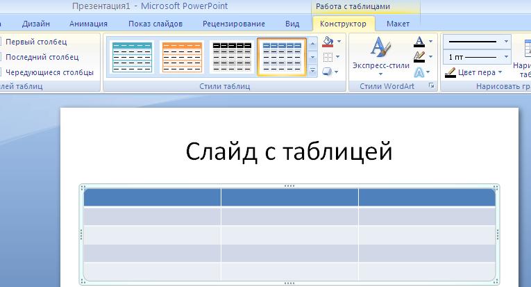Как сделать таблицы в powerpoint