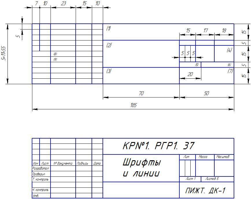 Основная часть Содержание контрольной работы № Рисунок 1 Основная надпись для чертежа ГОСТ 2 104 95 форма 1 и пример заполнения