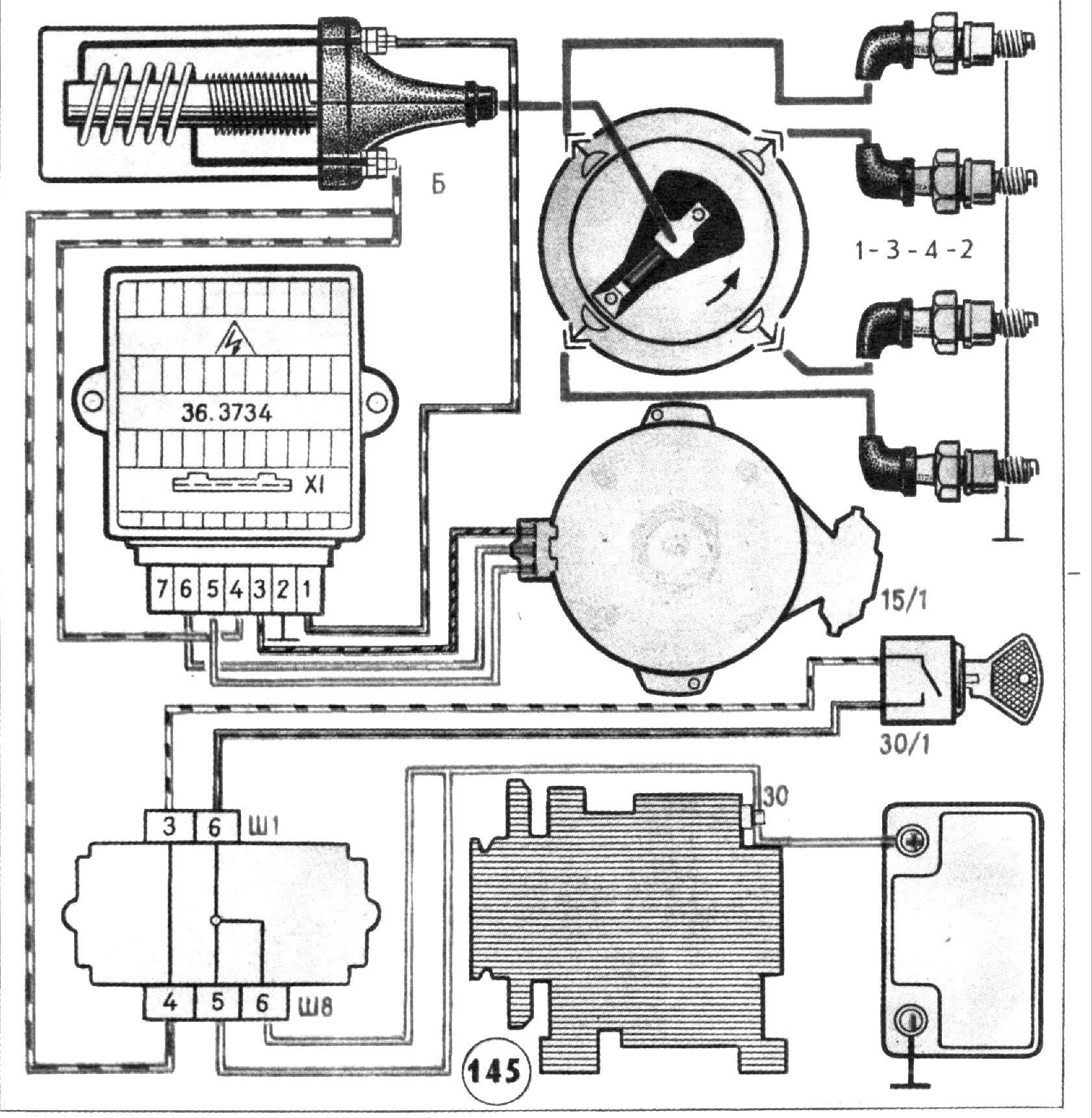 схема бесконтактного зажигания газ53