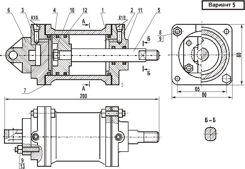 Сборочный чертеж цилиндр пневматический