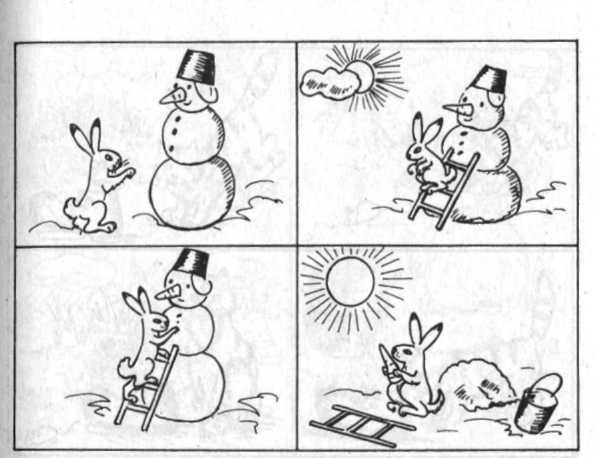 Зайка и снеговик сюжетные картинки