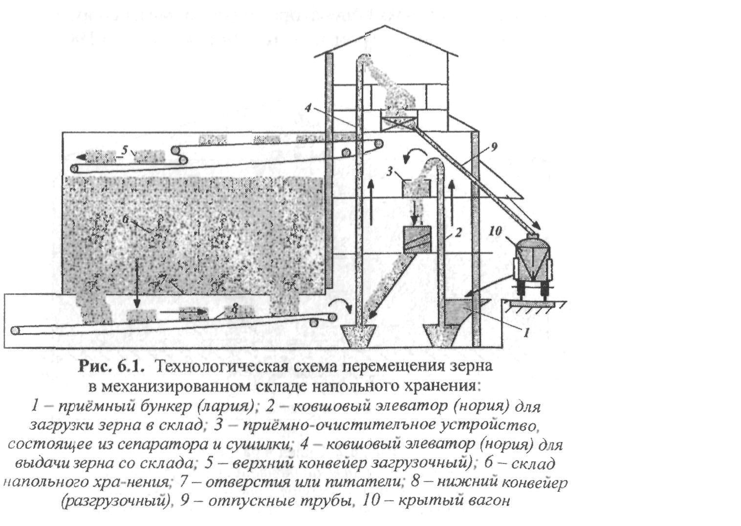 Схема хранения зерна в элеваторе регулировка ленты конвейеров