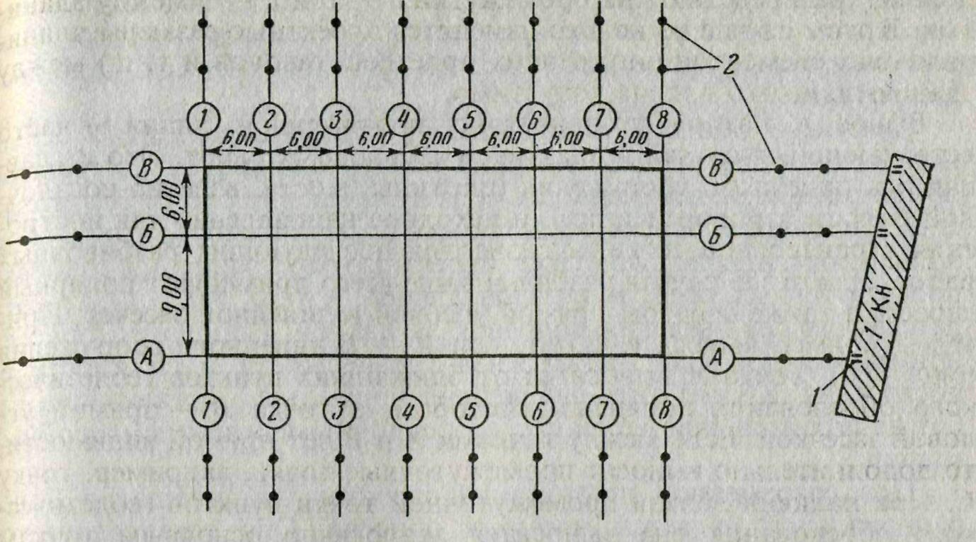 Схема разбивки сооружений способом угловой засечки