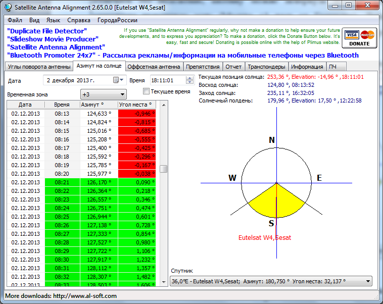 Опорные частота eutelsat w4