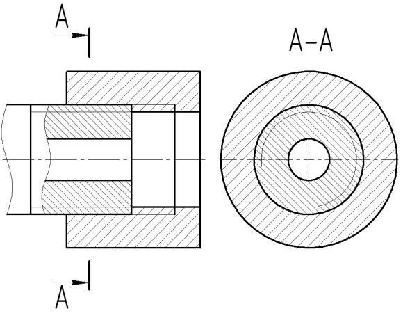 Резьбовое соединение на чертеже в разрезе