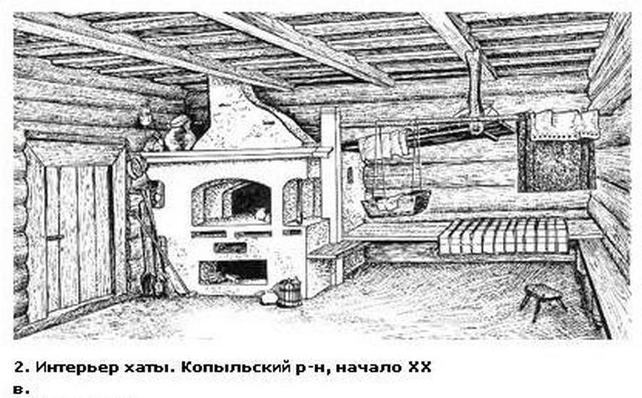 древнерусский дом внутри рисунок боялись