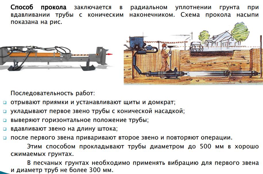 Прокладка трубопроводов способом продавливания грунта