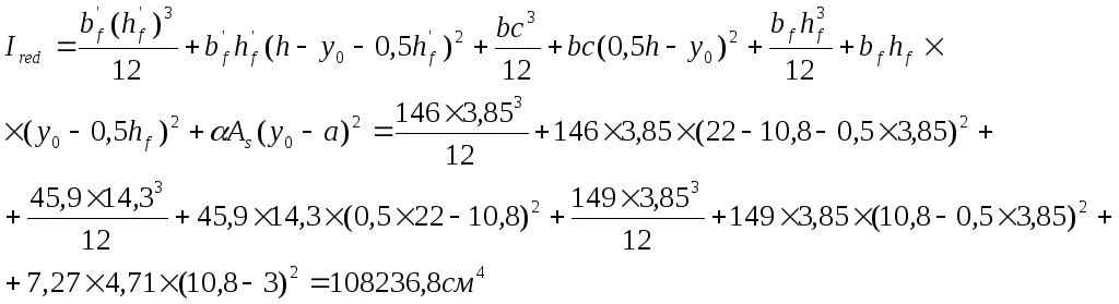 Момент инерции приведенного сечения относительно центра тяжести
