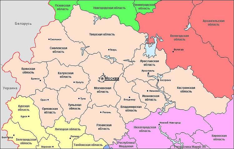 подружка, карта центрального района россии по областям они